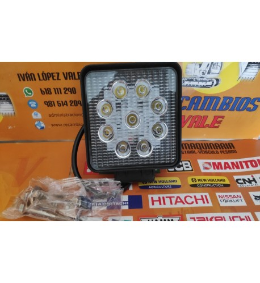 FARO DE TRABAJO LED CUADRADO 9 LEDS - 27W - 9-48V