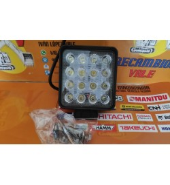 FARO DE TRABAJO LED CUADRADO 16 LEDS 3W - 48W - 9-32V